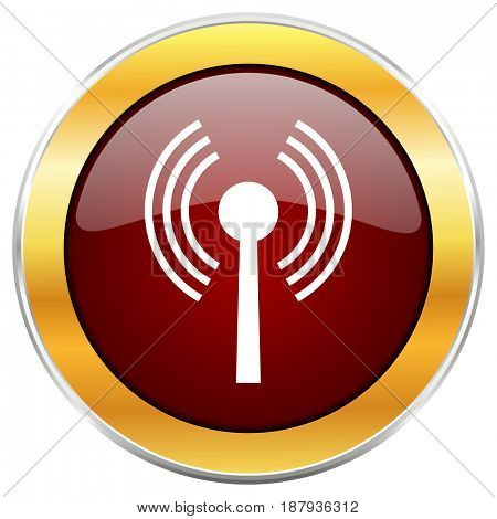 Wifi red web icon with golden border isolated on white background. Round glossy button.