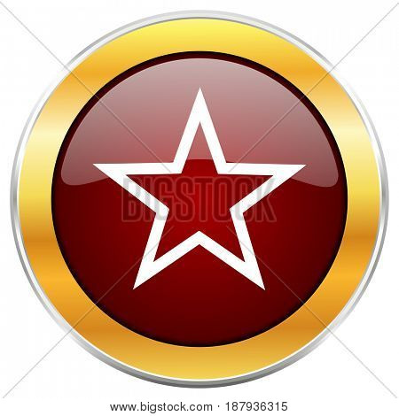 Star red web icon with golden border isolated on white background. Round glossy button.