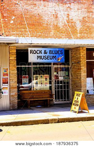 Clarksdale, MS, USA - 06/10/2015: Rock and Blues Museum in Clarksdale Mississippi birthplace of Blues music