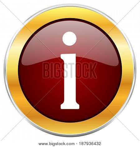 Information red web icon with golden border isolated on white background. Round glossy button.