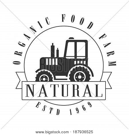 Organic food farm since 1969 logo. Black and white retro vector Illustration for organic products packaging, farms, shops, cafe, menu
