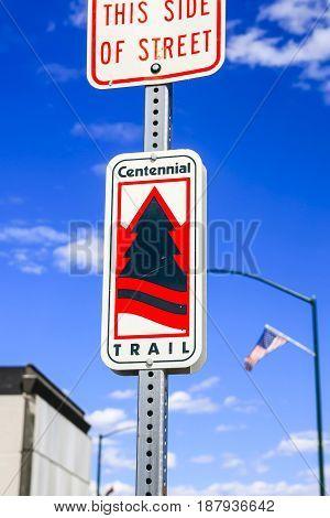 Coeur d'Arlene, ID, USA - 07/19/2015: Centennial Trail sign in Coeur d'Alene North Idaho