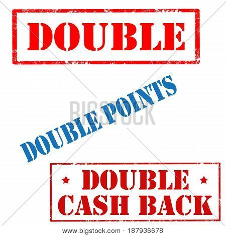 Set of stamps with text Double,Double Points and Double Cash Back,vector illustration