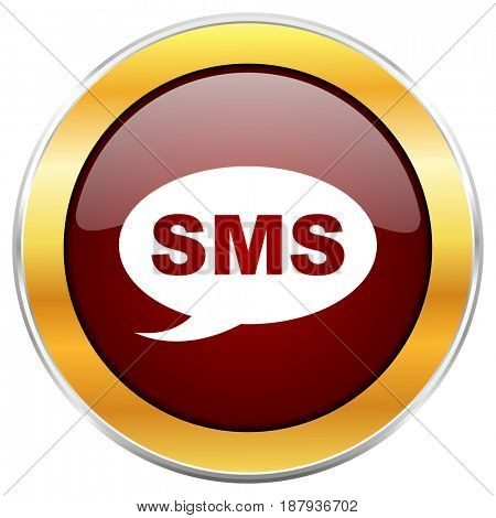 Sms red web icon with golden border isolated on white background. Round glossy button.