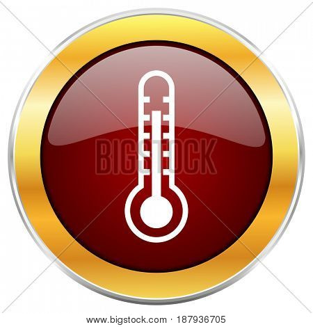Thermometer red web icon with golden border isolated on white background. Round glossy button.