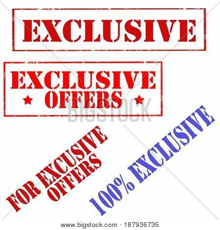 Set of stamps with text Exclusive Offers,vector illustration
