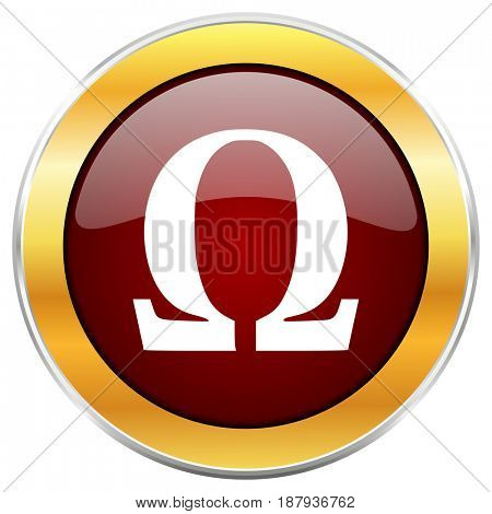 Omega red web icon with golden border isolated on white background. Round glossy button.