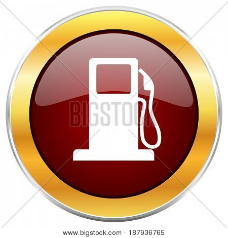 Petrol red web icon with golden border isolated on white background. Round glossy button.