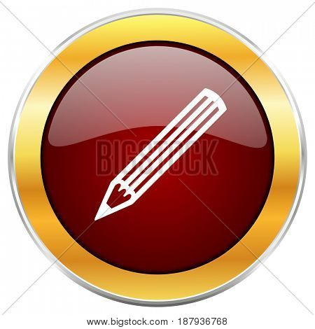 Pencil red web icon with golden border isolated on white background. Round glossy button.