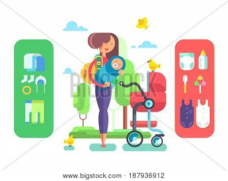 Baby and mother, accessories. Newborn toddler, care love infant, woman mom parent, vector illustration