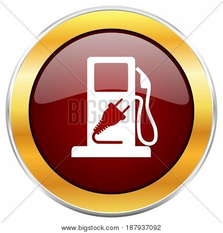 Fuel red web icon with golden border isolated on white background. Round glossy button.