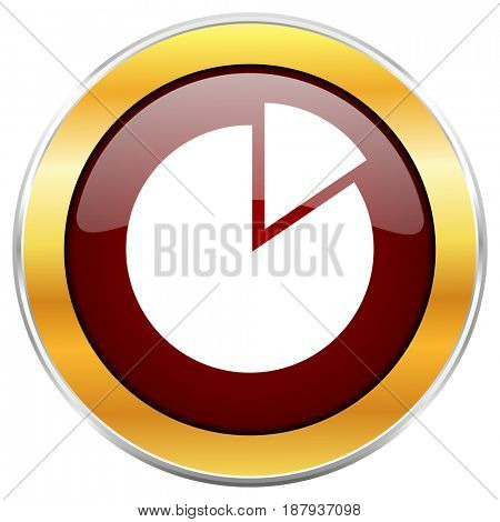 Chart red web icon with golden border isolated on white background. Round glossy button.