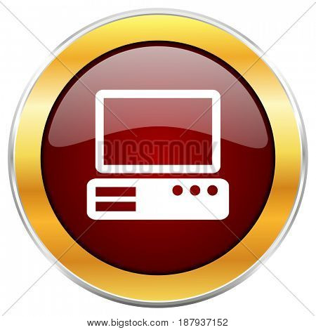 Computer red web icon with golden border isolated on white background. Round glossy button.