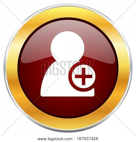 Add contact red web icon with golden border isolated on white background. Round glossy button.