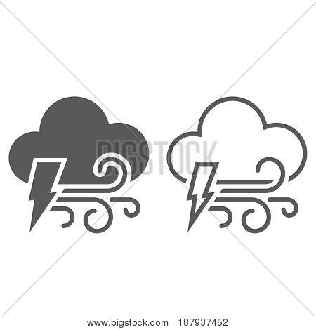 Lightning And Wind Icon. Solid And Outline