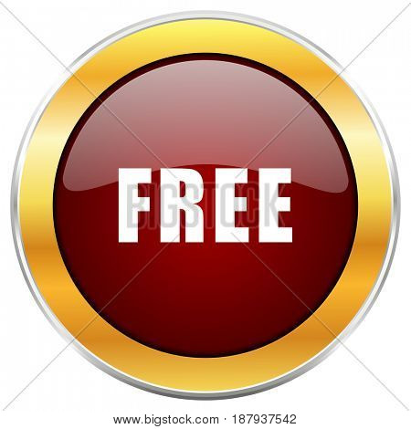 Free red web icon with golden border isolated on white background. Round glossy button.