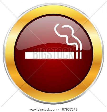 Cigarette red web icon with golden border isolated on white background. Round glossy button.