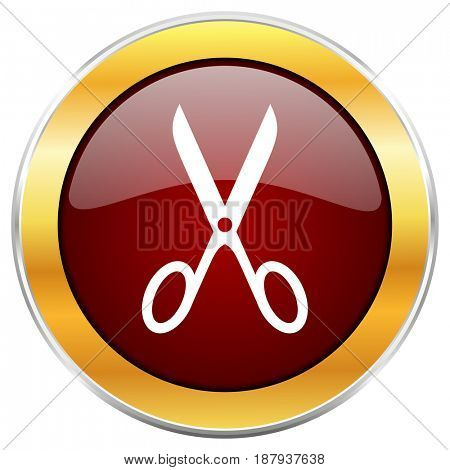 Scissors red web icon with golden border isolated on white background. Round glossy button.