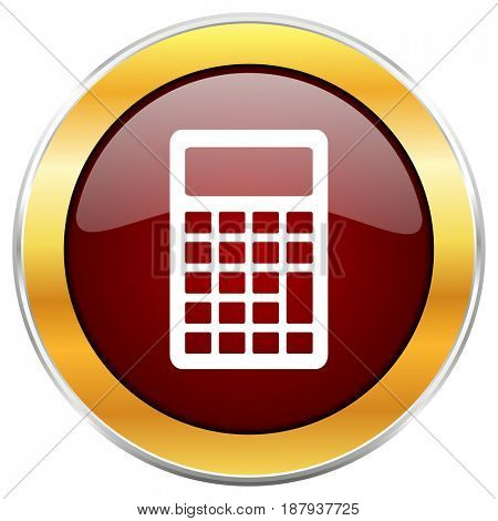 Calculator red web icon with golden border isolated on white background. Round glossy button.