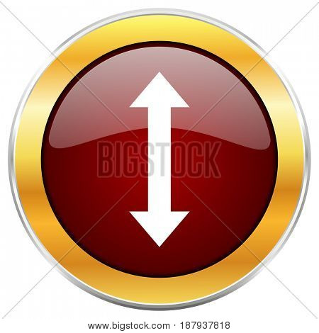 Arrow red web icon with golden border isolated on white background. Round glossy button.