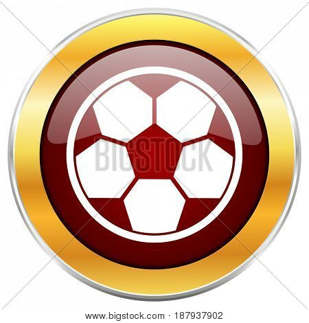 Soccer red web icon with golden border isolated on white background. Round glossy button.