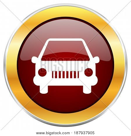 Car red web icon with golden border isolated on white background. Round glossy button.
