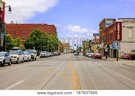 Fargo, ND, USA - 07/24/2015: View of the Northen Pacific Ave in downtown Fargo N. Dakota