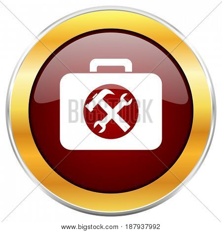 Toolkit red web icon with golden border isolated on white background. Round glossy button.