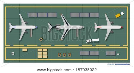 Repair and maintenance of aircraft. Top view of workshop. Industrial drawing in a flat style. Vector illustration