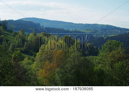 Landscape view of forest trees and motorway highest bridge in Slovakia