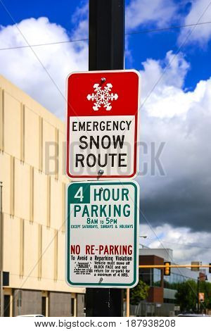 Fargo, ND, USA - 07/24/2015: Emergency Snow Route sign seen in Fargo North Dakota