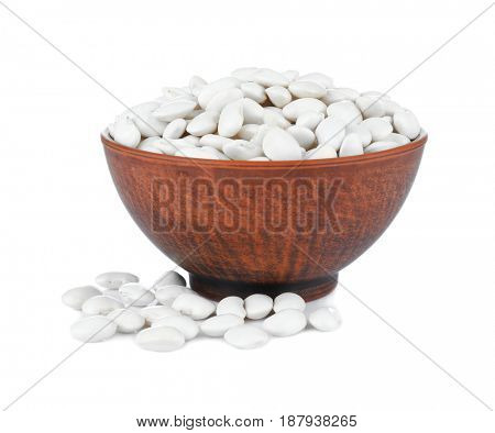 Bowl with butter beans on white background