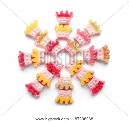 Composition of tasty jelly candies on white background