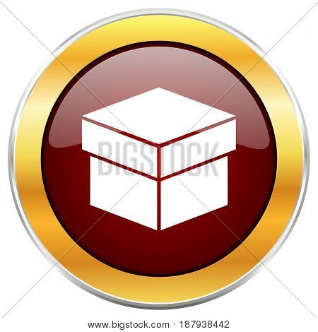 Box red web icon with golden border isolated on white background. Round glossy button.