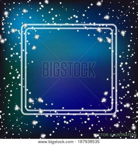 Blue background with border and stars. Vector illustration.