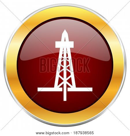 Drilling red web icon with golden border isolated on white background. Round glossy button.
