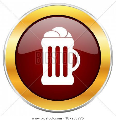 Beer red web icon with golden border isolated on white background. Round glossy button.