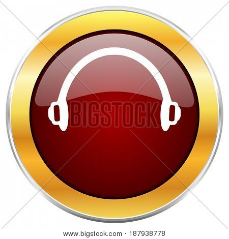 Headphones red web icon with golden border isolated on white background. Round glossy button.