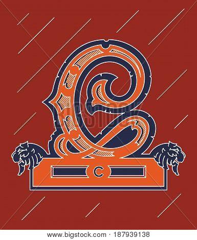Vector illustration about decorative alphabet letter C