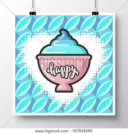 Poster with icon soft ice cream in a croissant against the background of a seamless pattern. Vector illustration for wallpaper flyers invitation brochure greeting card menu.