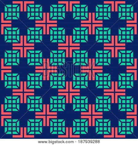 Seamless Medical Abstract Pattern With Crosses And Square On Blue Background. Vector Illustration.