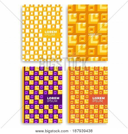 Set Of Abstract Square Pattern For Cards With Layers Overlap. Applicable For Covers, Placards, Poste