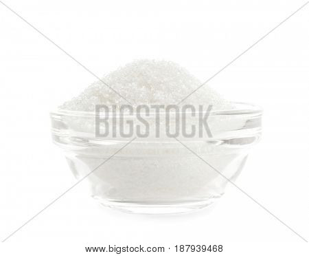 Sugar in bowl on white background
