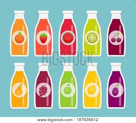 Apple, Orange, Plum, Cherry, Lemon, Lime, Watermelon, Strawberries, Kiwi, Peaches, Grapes and Pear Juice Bottle Template in Modern Flat Style. Vector Illustration. EPS10