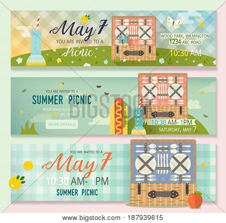 Pastime picnic card illustration. Invitation banner card with summer nature, picnic basket and tartan tablecloth pattern.