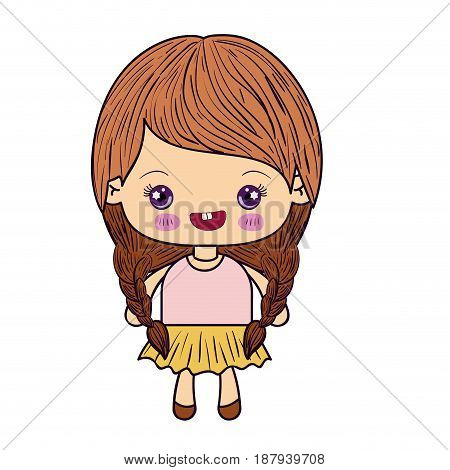 colorful silhouette of kawaii cute little girl with braided hair and smiling vector illustration