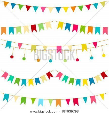 Colorful flags vector carnaval seamless pattern. Kids festive background with bright ribbons. Birthday Party feast decor