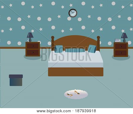 A cute bedroom. Lamps on the tables.A wood bed witn light blue decorative pillows. Сarpet. Sexy cute slippers with high heels. Provence style. Vector illustration.