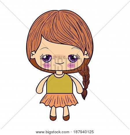 colorful silhouette of kawaii cute little girl with braided hair and embarrassed facial expression vector illustration