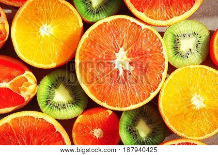 Beautiful composition with fresh fruits, closeup